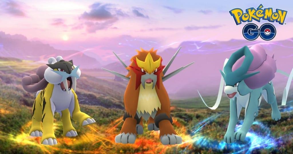 Legendary Pokémon Raikou, Entei, and Suicune