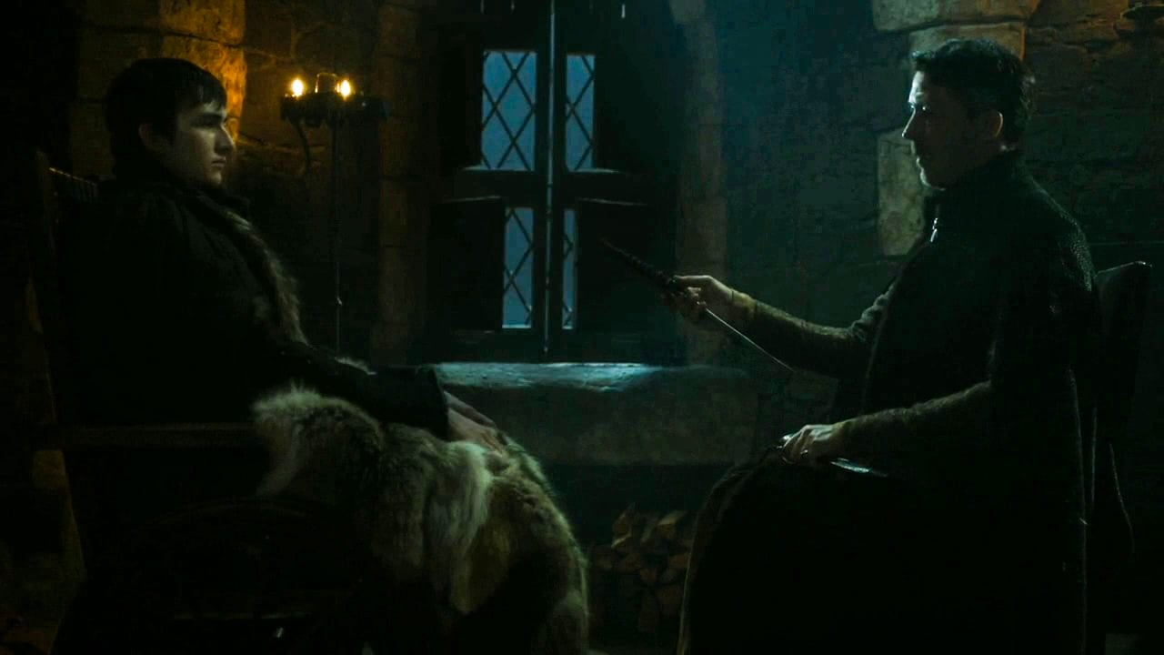 Littlefinger hands Bran Catspaw
