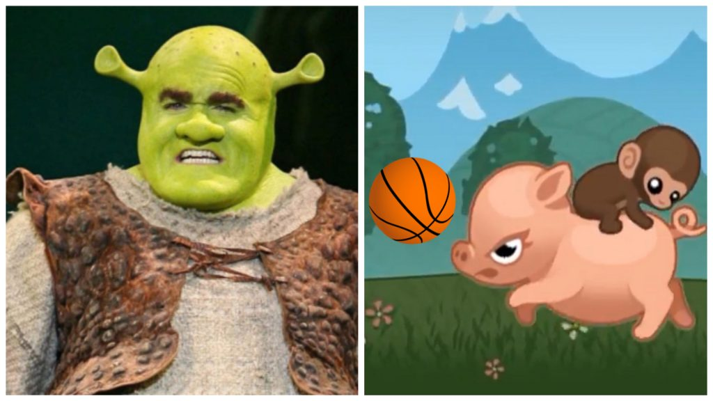Shrek vs. Baby Monkey Going Backwards On Pig